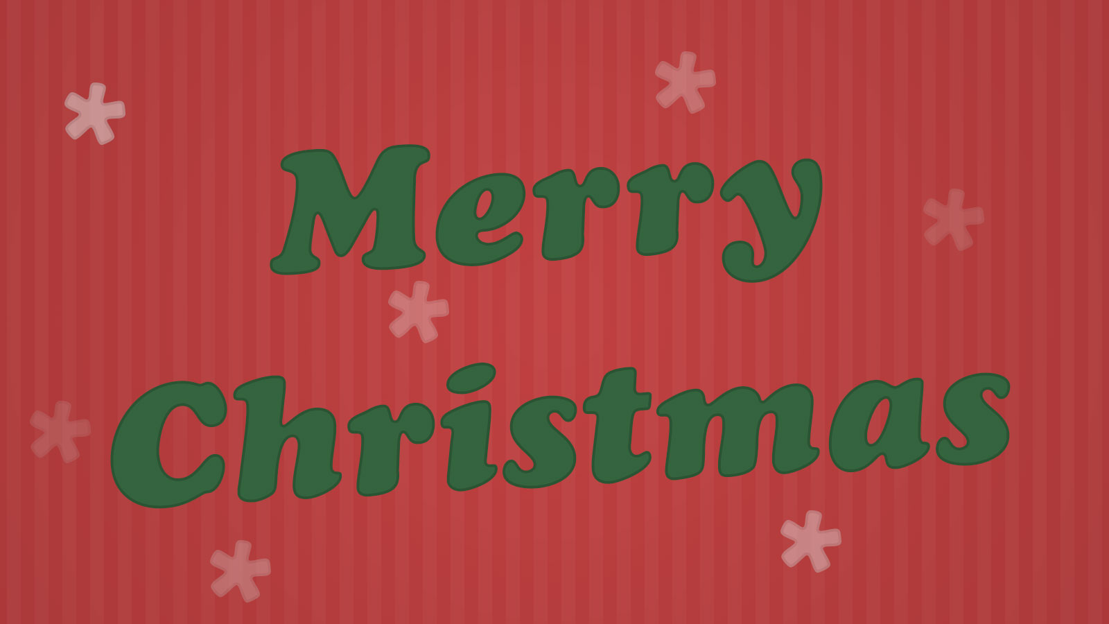 Merry Christmas text over a red striped background with snow flakes.