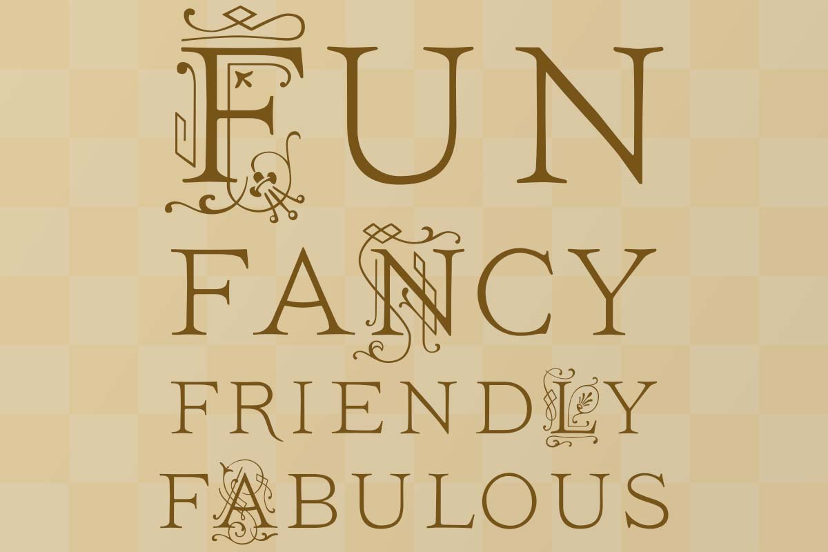 The words Fun Fancy Friendly and Fabulous on a tan checkerboard background pattern.