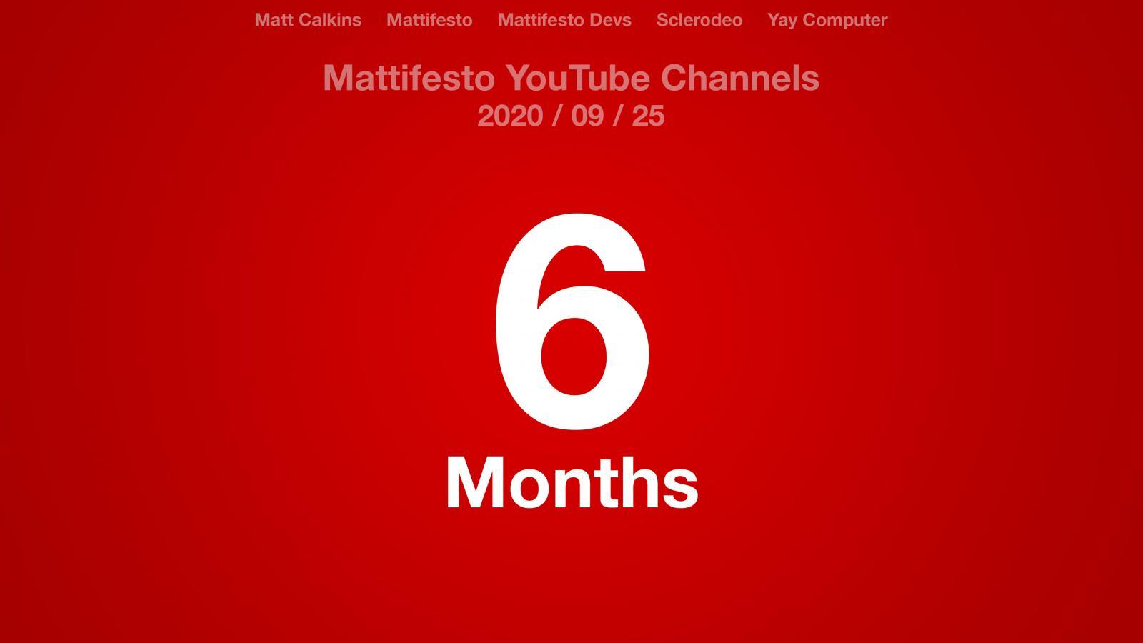 Red radial gradient with the text: Matt Calkins, Mattifesto, Mattifesto  Devs, Sclerodeo, Yay Computer, Mattifesto YouTube Channels 2020/09/25 6 Months