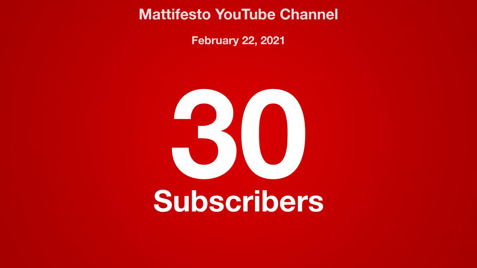 Mattifesto YouTube Channel, February 22, 2021, 30 Subscribers