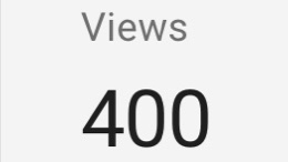 Views: 400. A screen capture from YouTube Analytics.
